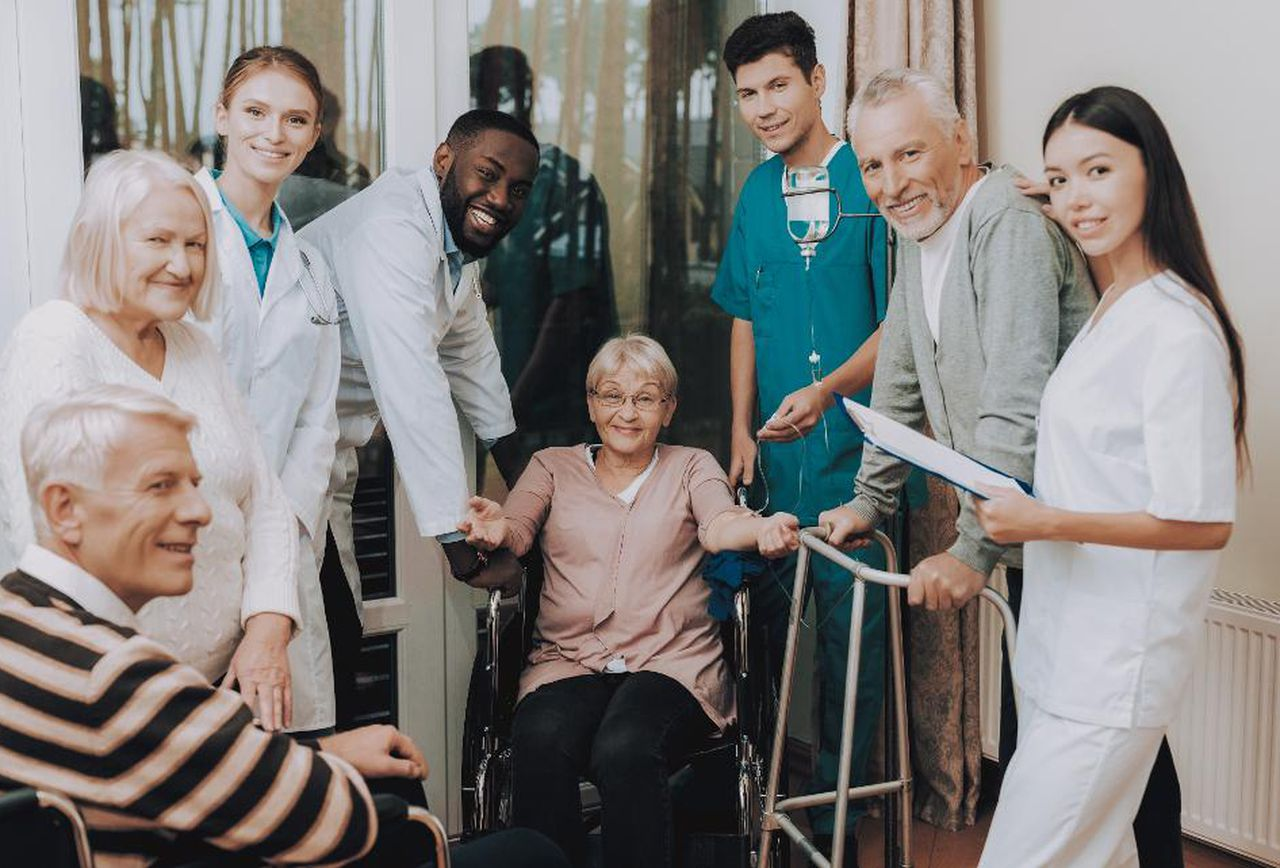senior living caretakers with senior